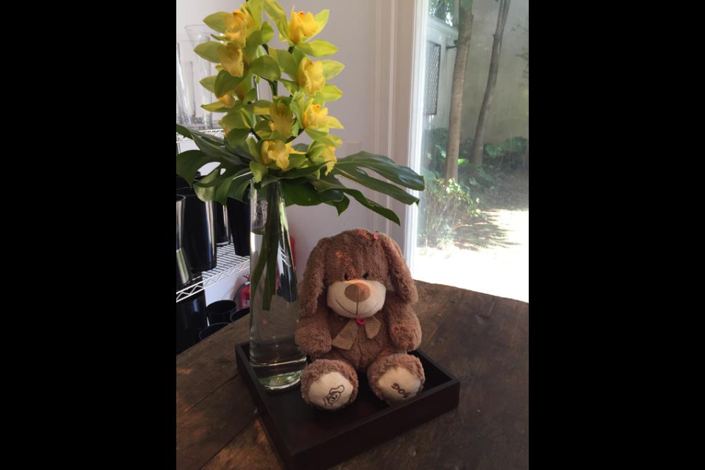 Composição de flores e ursinho de pelúcia